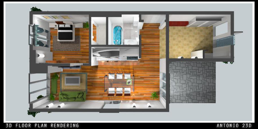 3D Floor Plan Rending by Antonio23d