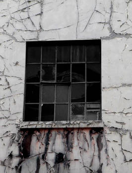 Window with cracked paint