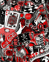 Red, Black, and White Doodle by Ithelda