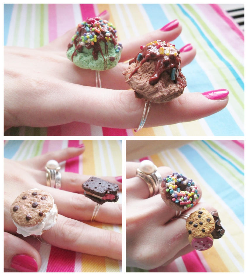 Polymer Clay Dessert Rings 2 by Ithelda