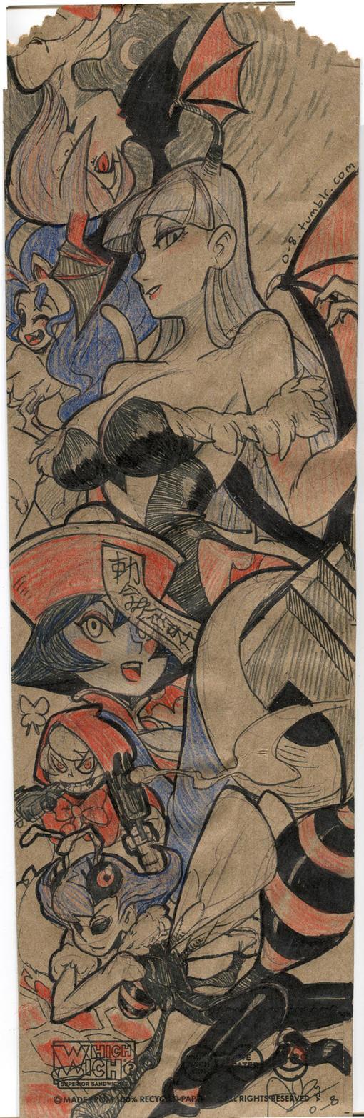 Darkstalkers paper bag illustration by oh8