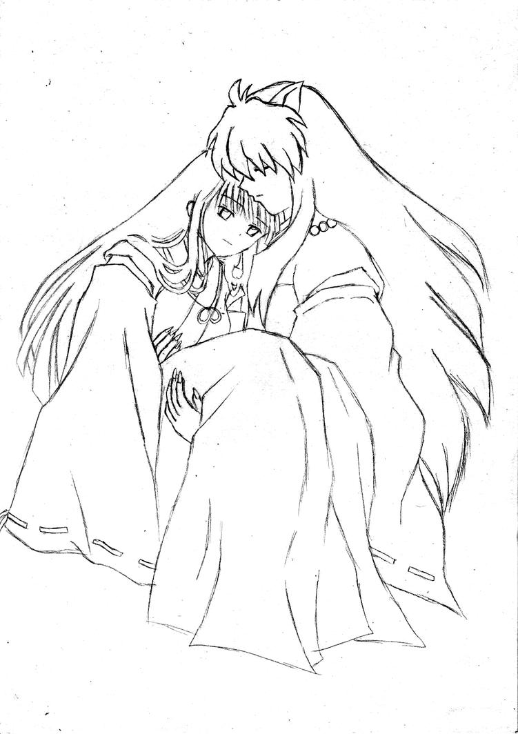 Inuyasha coloring book - Inuyasha X Kikyou Sketch By Kamiyaafuuko