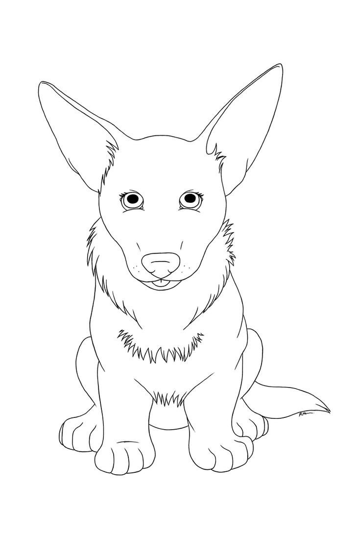 cute corgi puppy free lineart by crimson mane on deviantart