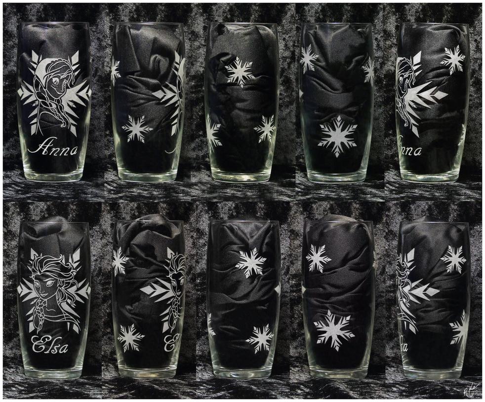 Hand Engraved Frozen Glass Set by Crimson-Mane