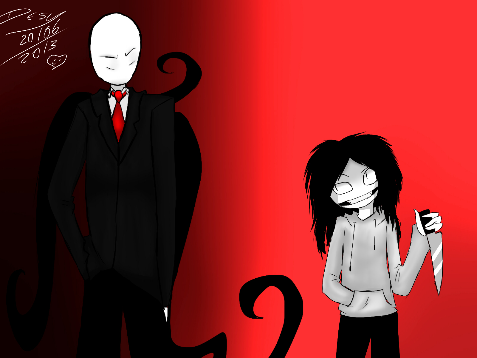 Jeff The killer e Slenderman by Desy017