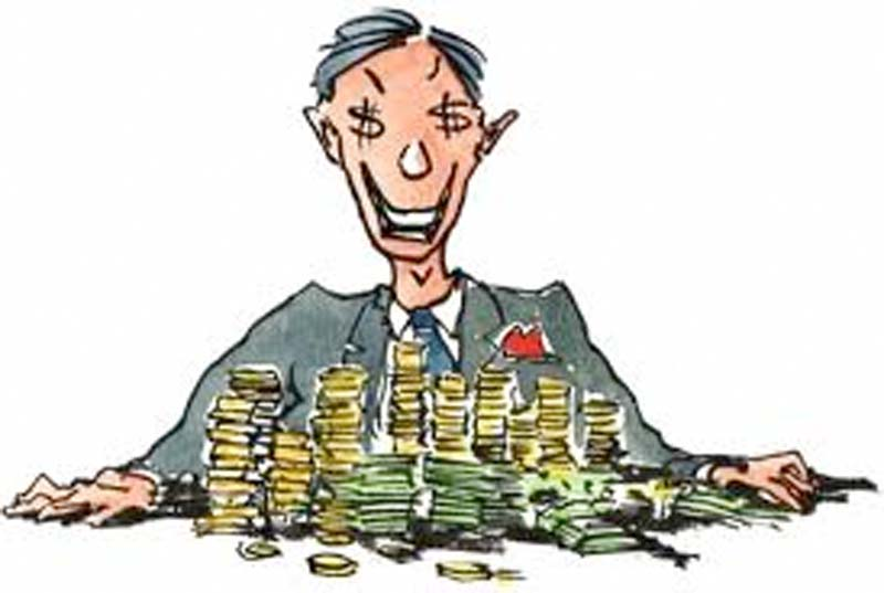 Image result for greedy man reveling in his money clipart