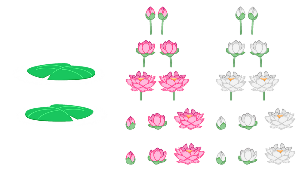 MLP Resource: Lotus Flowers and Lilypads by SaturnGrl on
