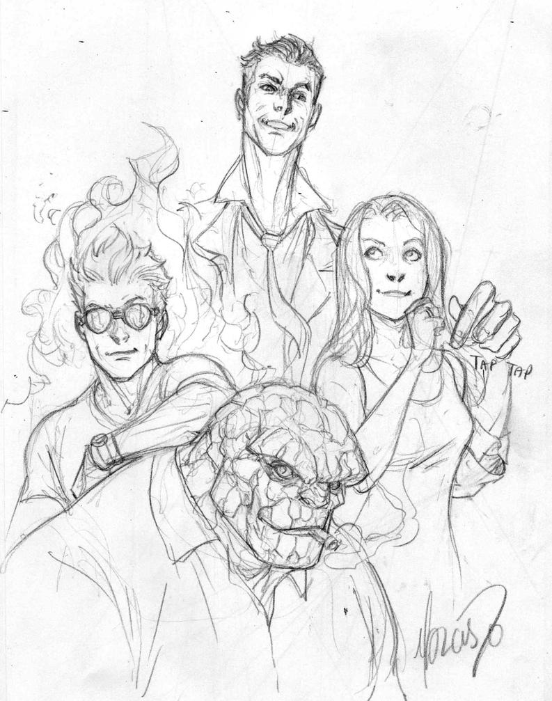 Fantastic Four sketch by 0boywonder0 on DeviantArt
