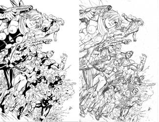 Cyborg009 pinup pencils and inks