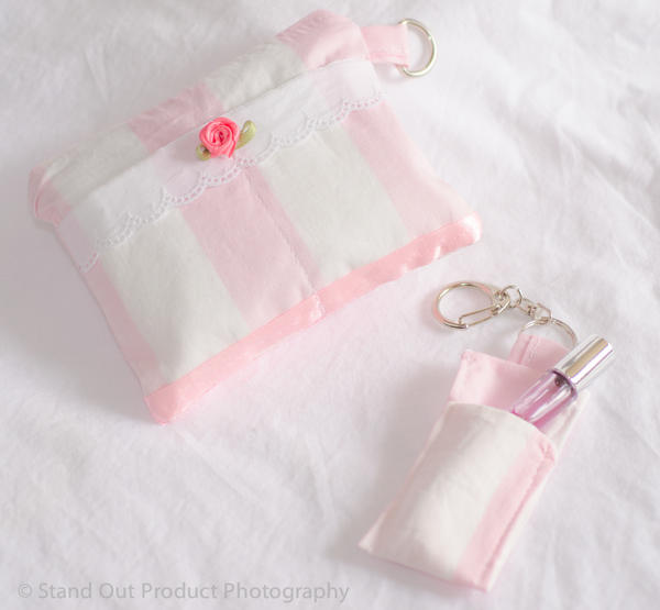 Pink candy striped mini purse by Keropanda-DuckieC