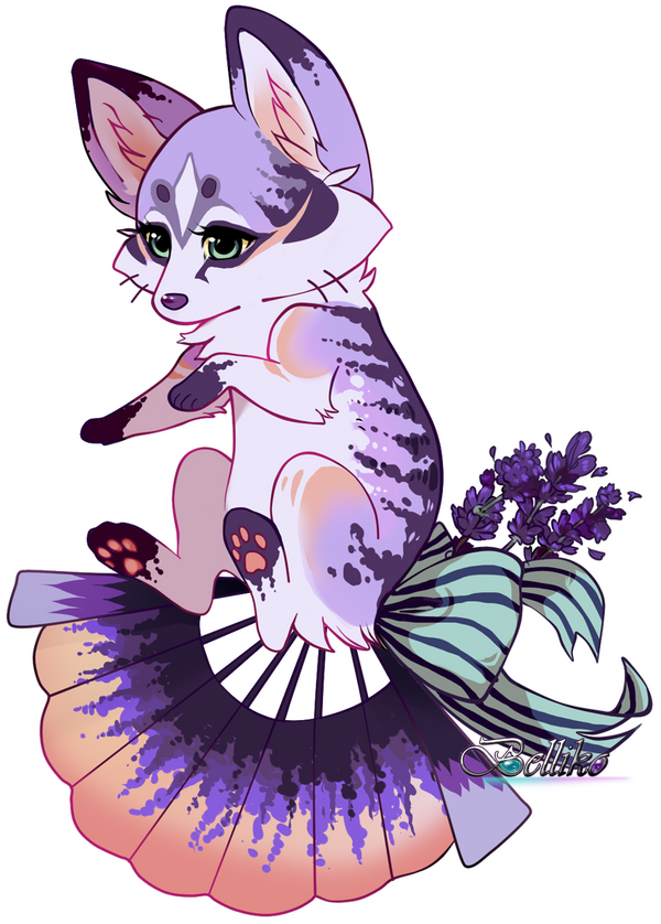 Lavender Foxfan//Offer To Adopt! //CLOSED by Belliko-art