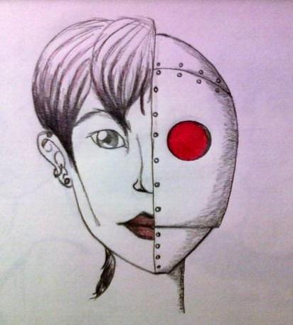 half human half robot by dlouie on DeviantArt