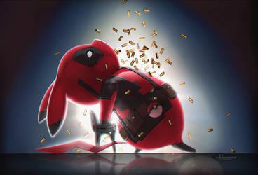 Deadpool Pikachu by Huuni