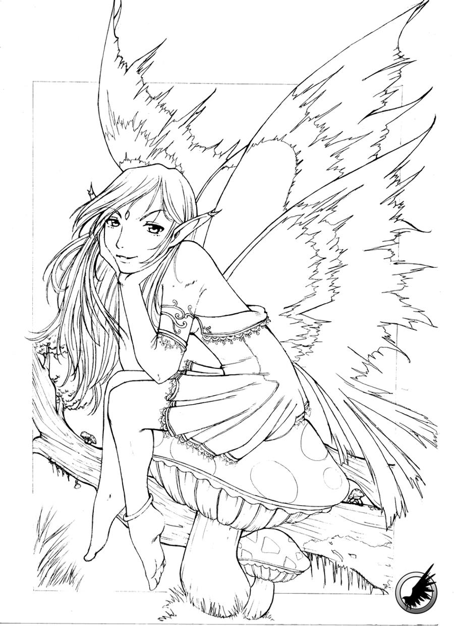 Leaf fairy sketch by radicalldreamer on deviantart for Coloring pages fairies