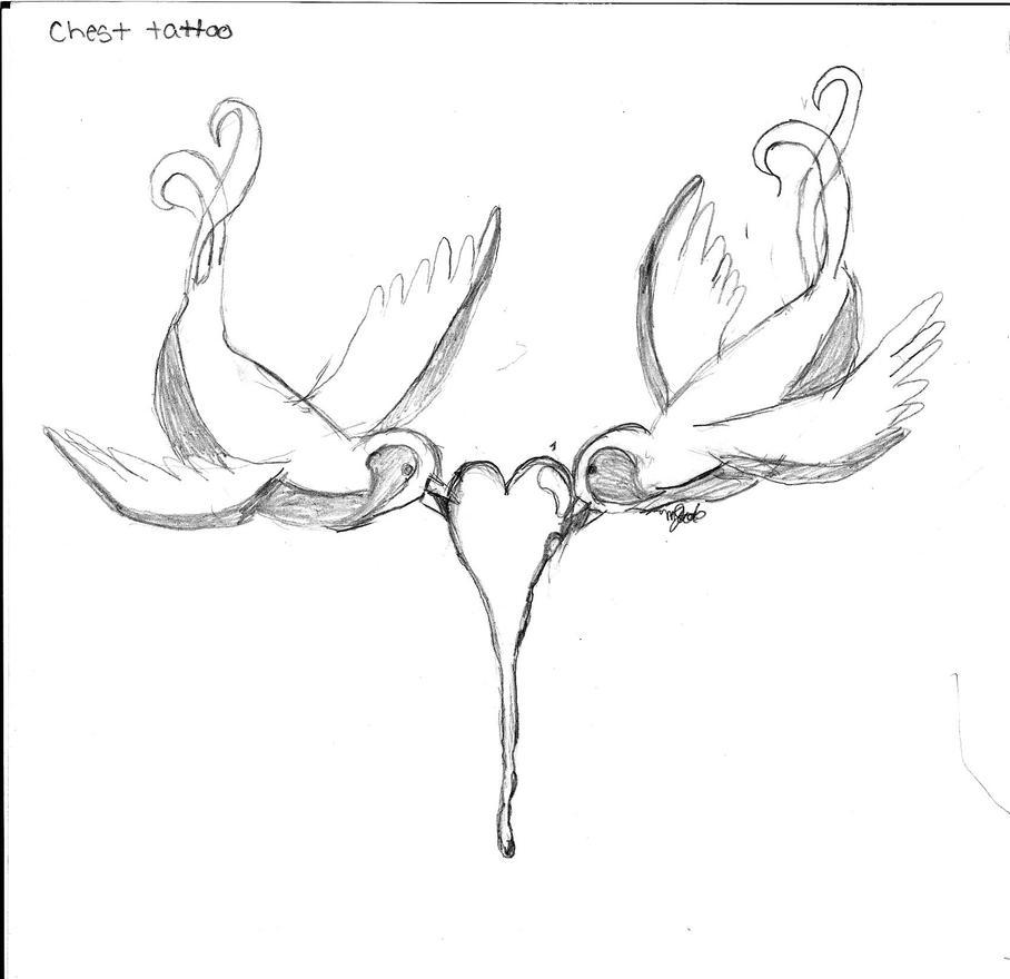 love birds - chest tattoo