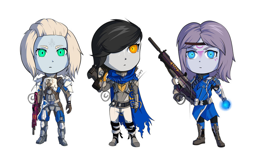 Destiny Chibi Commissions by DaniiScream