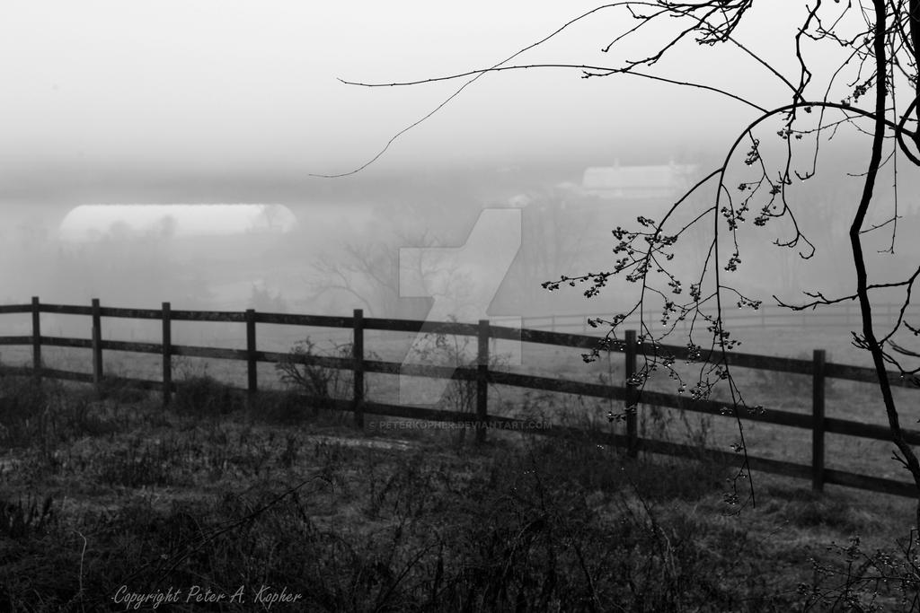 Farmscape Fog B+W by peterkopher