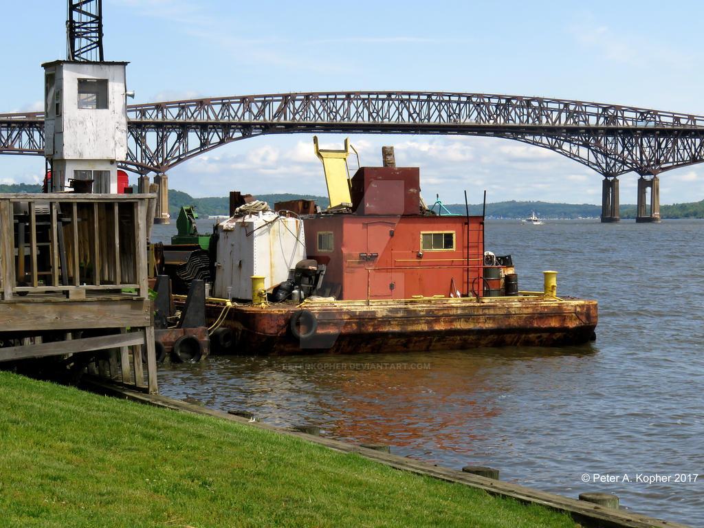 Barge Under Newburgh-Beacon Bridge  by peterkopher