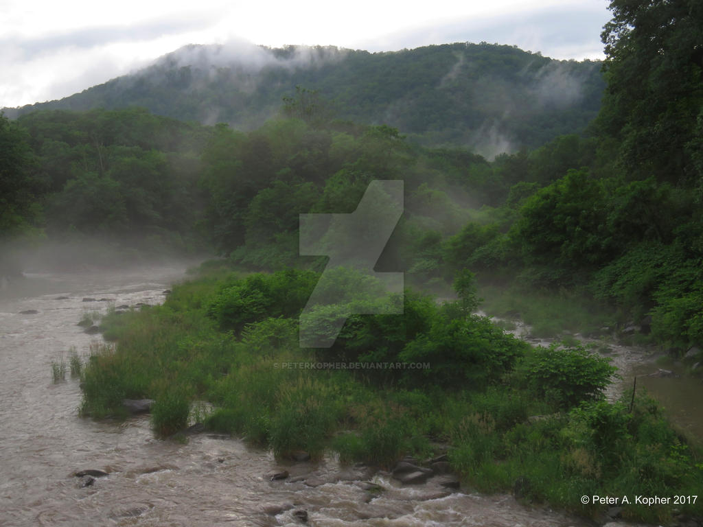 Early Evening Fog Over Esopus Creek by peterkopher