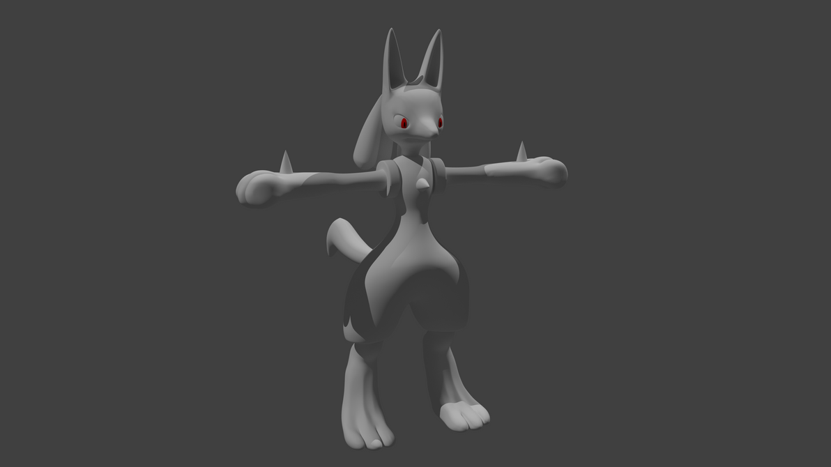 WIP 3 Lucario Render by PhiliChez