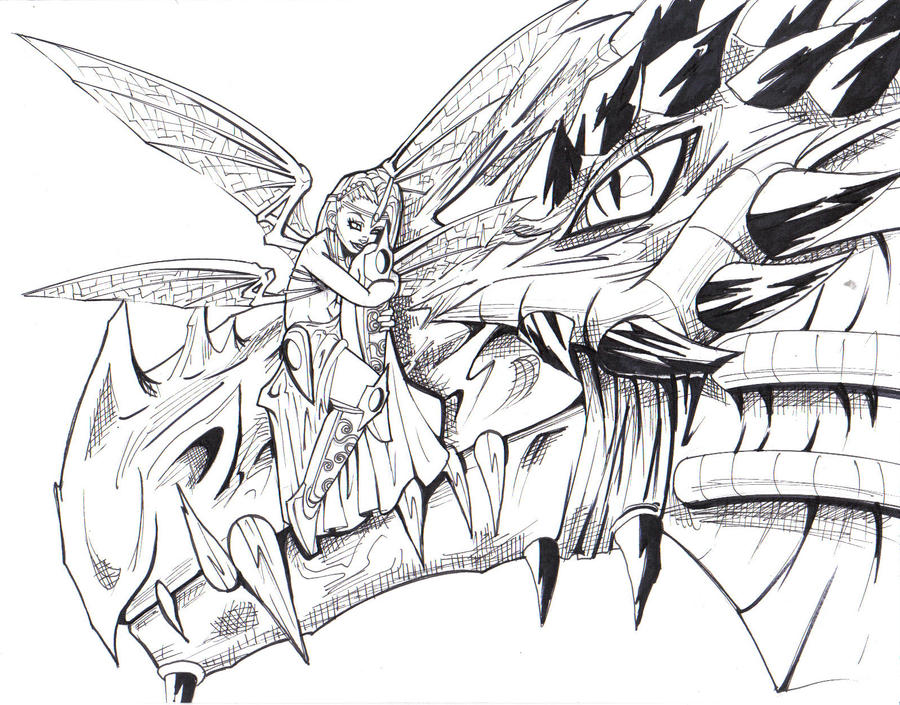 Fairy and dragon by ravnica on deviantart for Dragon and fairy coloring pages