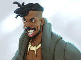 Killmonger from Black Panther  by xidingart