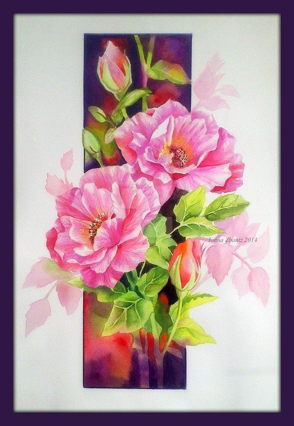 Pink Roses by LilDevilAriel