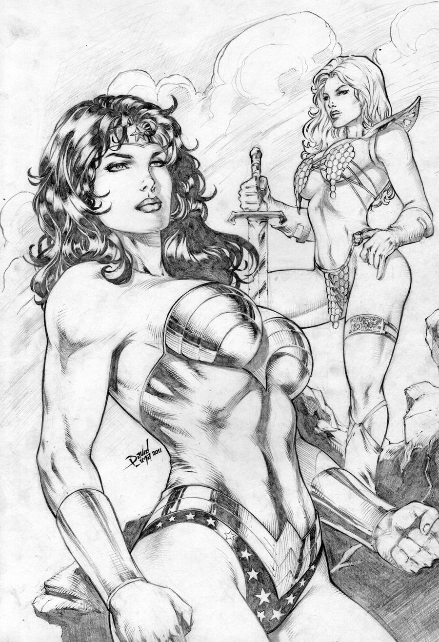 Wonder Woman and Red Sonja by DLimaArt