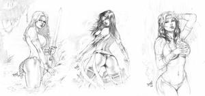 Red Sonja, Psylocke and Rogue