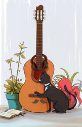 A Cat Playing Guitar by Yewrezz