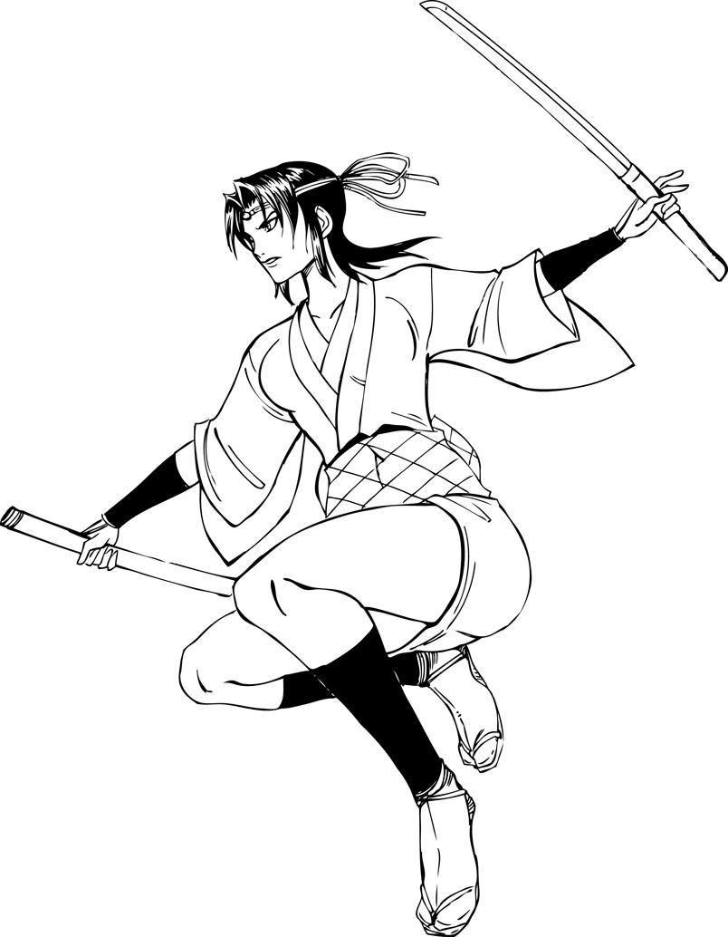Line Art Ninja : Kagero from ninja scroll line art by claret on
