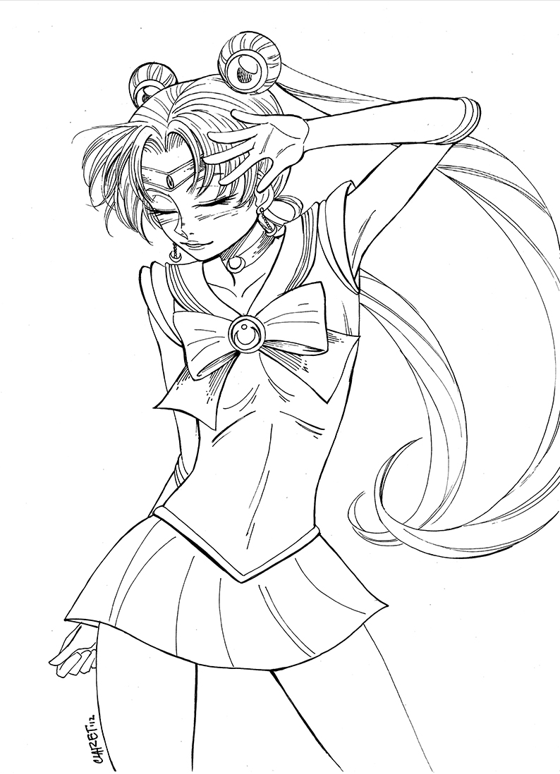 Line Drawing Moon : Sailor moon line art by claret on deviantart