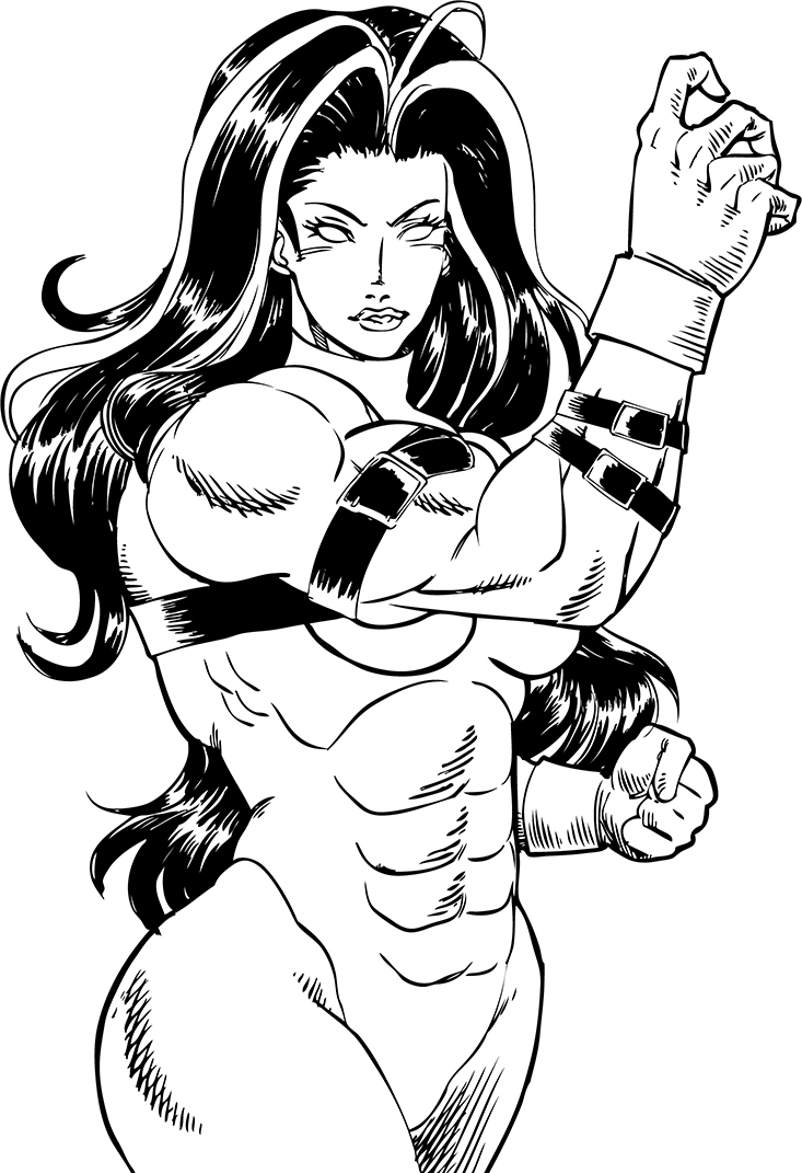 Red She Hulk Lineart By Claret821021