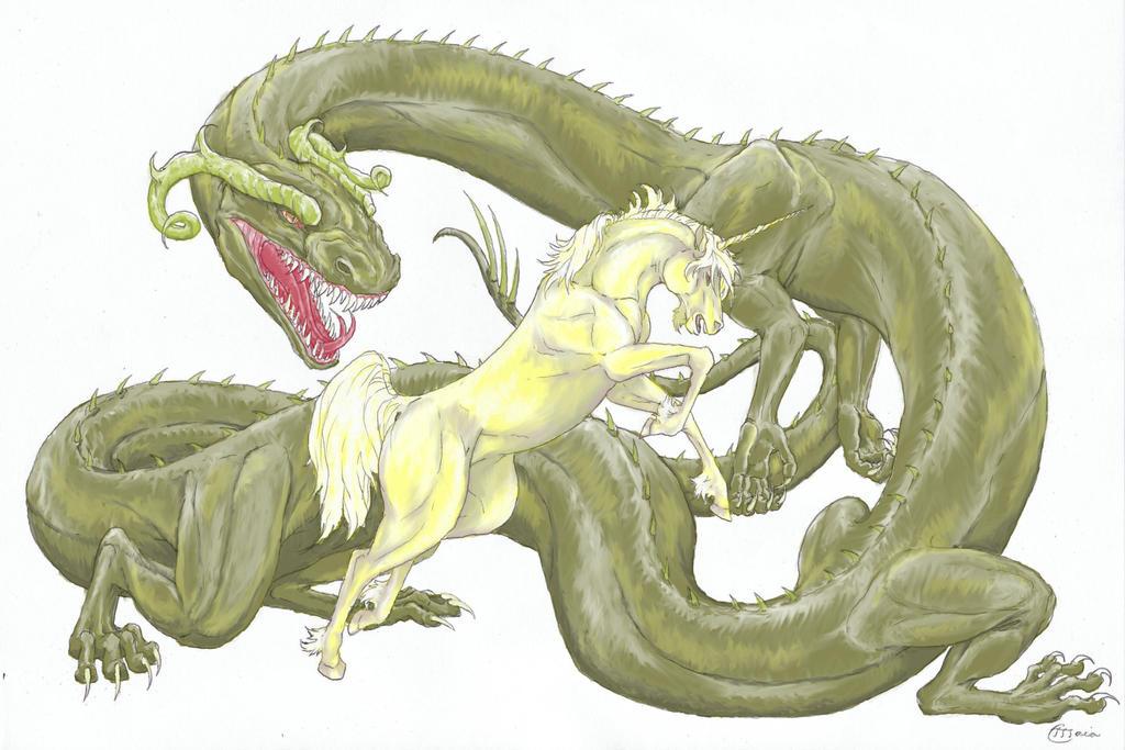 Dragon Vs Unicorn Colored by MaiaCarlson on DeviantArt