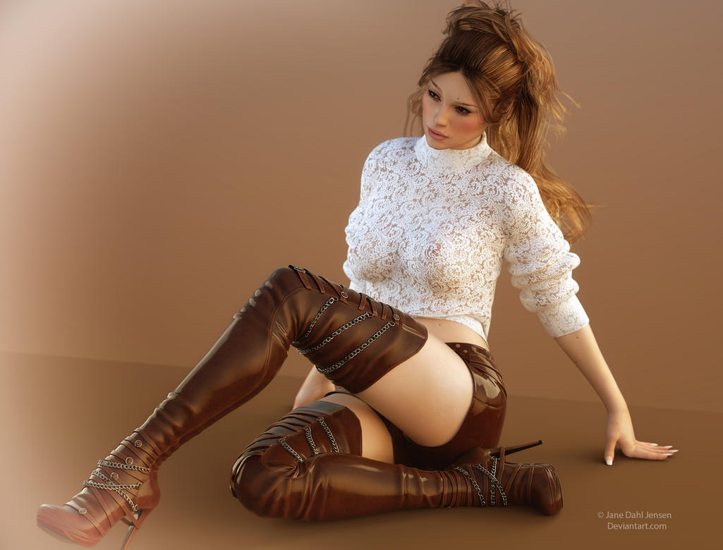 Boots lace and hotpants by janedj