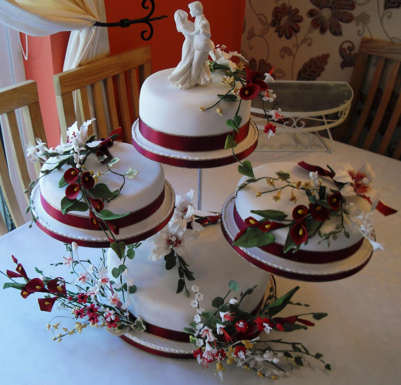 4 Tier wedding cake by Sugarflowers on DeviantArt