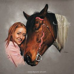 Woman and horse portrait: USHINA and ALICIA