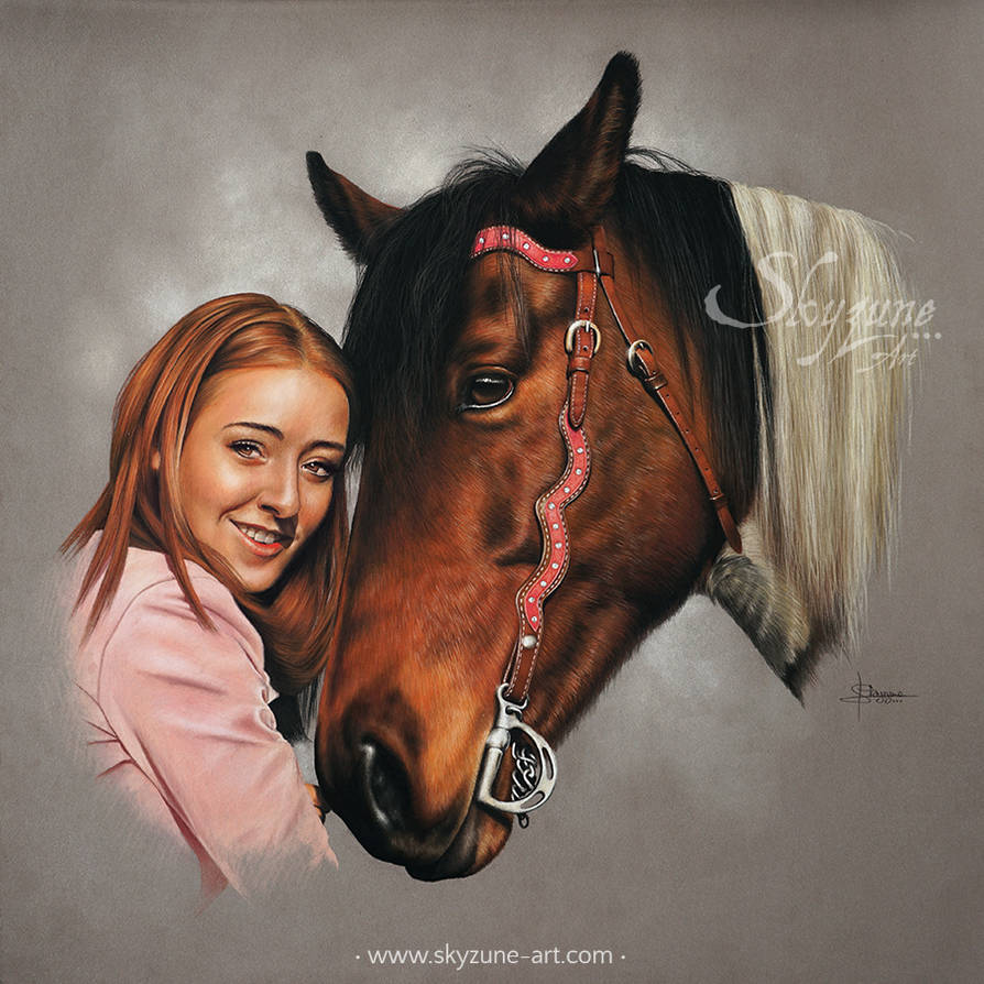 Woman and horse portrait: USHINA and ALICIA by SKYZUNE-ART
