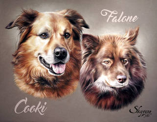 Dog drawing - COOKI and FALONE by SKYZUNE ART