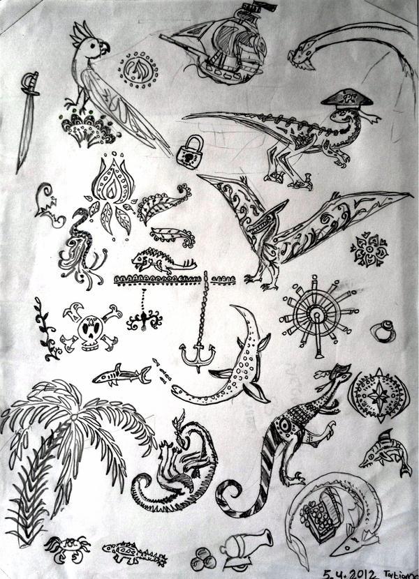 Dino pirate tattoos. by Shantifiy