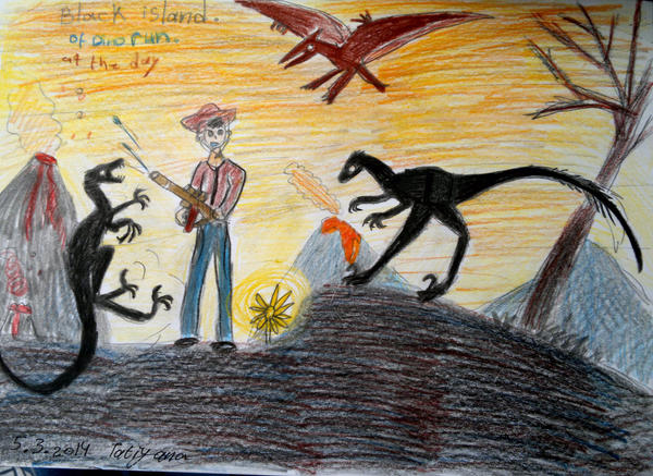 hunter vs raptors-dino run. by Shantifiy