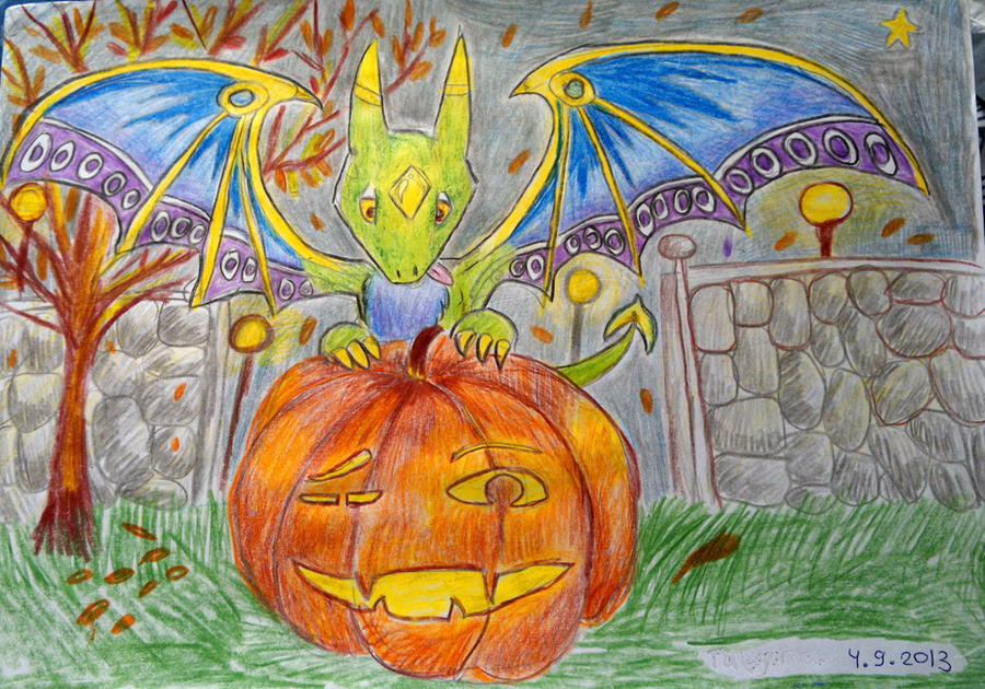 Green Bumag rabh mag blue wing- Happy Halloween. by Shantifiy