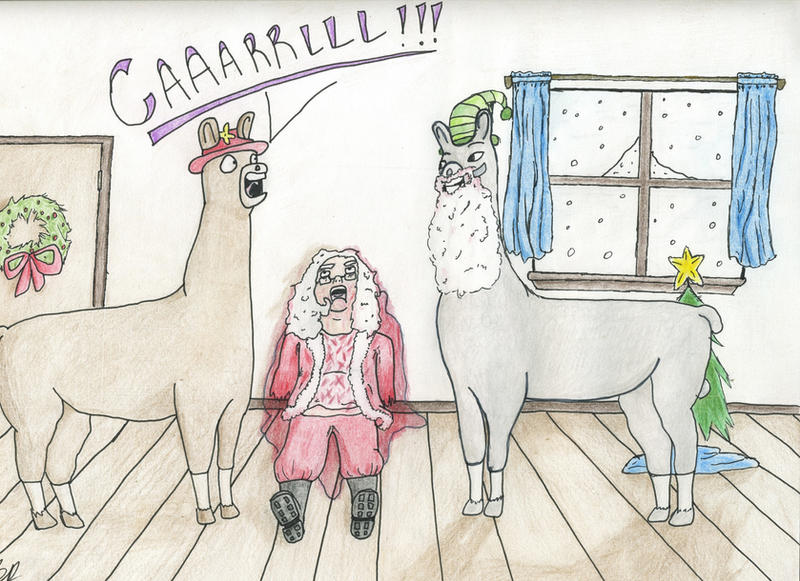 Llamas with Hats: Christmas by EscapingEnnui on DeviantArt