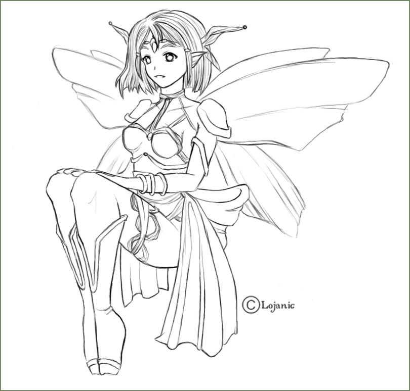 Fairy, clean lineart by Lojanic