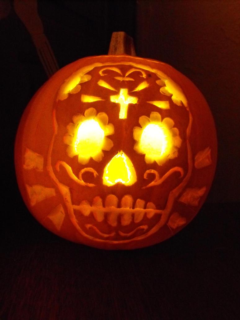 Sugar skull pumpkin by dontcallmerosie on deviantart