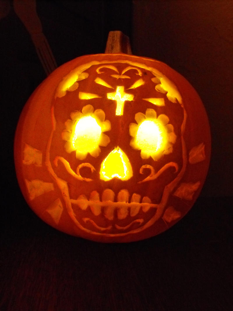 Sugar skull pumpkin by dontcallmerosie on deviantart