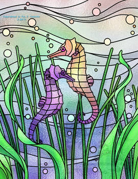 Stained Glass - Seahorses
