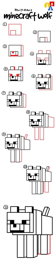 How to draw a Minecraft wolf by gamepsyco