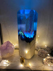 Blue Resin and Wood Lamp.