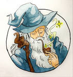 Wizard Smokes in watercolor (commission) by sarusham